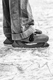 Wide skates on ice. Royalty Free Stock Image