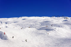 Wide ski slope area in Flaine Stock Images