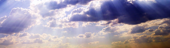 Wide sky with clouds. Panorama Royalty Free Stock Photos