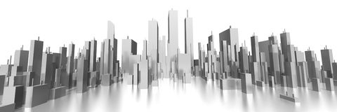 Wide skyline 3d Royalty Free Stock Image
