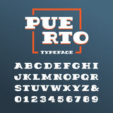 Wide slab serif font. Vector alphabet with latin letters and num Royalty Free Stock Photo