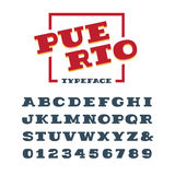 Wide slab serif font. Vector alphabet with latin letters and num Royalty Free Stock Photography