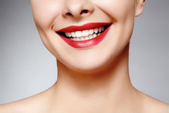 Wide smile of young beautiful woman, perfect healthy white teeth. Dental whitening, ortodont, care tooth and wellness. Wide smile of young beautiful woman with Royalty Free Stock Photography