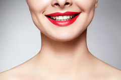 Wide smile of young beautiful woman, perfect healthy white teeth. Dental whitening, ortodont, care tooth and wellness Royalty Free Stock Image
