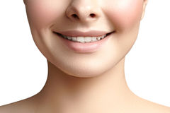 Wide smile of young beautiful woman, perfect healthy white teeth. Dental whitening, ortodont, care tooth and wellness Stock Photos