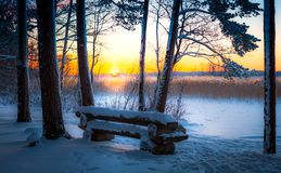 A wide snow space with a wooden bench at sunset Royalty Free Stock Photos