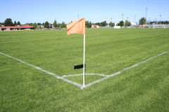 Wide on a Soccer Corner Field Flag Stock Images