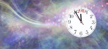 Nearly New Year 2019 Celebration Banner. Wide sparkling pink and blue coloured swishing background with a clock face showing five minutes to midnight on the royalty free stock image