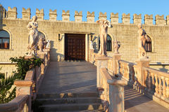 Wide stair with ancient statues and rails Stock Photo