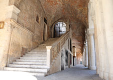 Wide staircase with stone steps to climb above the Palladian Bas. Ilica in the city of Vicenza in Italy Stock Photos
