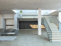 Wide stairs of modern house. Wide stairs to the first floor of a modern house with concrete beams and gray couch. 3D rendering Royalty Free Stock Photography