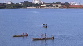 Fishermen sailing back to land with fish, Conakry. Wide steady shot on a fine serene evening, five fishermen on small wooden canoes, quiet blue still coastal stock footage