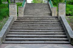 Wide stone stairs in the park stock image