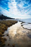 Wide stream in the spring . Siberia, Yugra. Stock Images