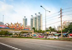 Wide street with portrait of the King of Thailand Bhumibol Aduly Royalty Free Stock Image