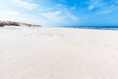 Wide summer beach and dunes in Slowinski National Park, Baltic sea, Poland. Stock Photography
