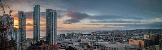Sunrise panorama of San Francisco looking towards the ballpark and the bay. Wide sunrise panorama of San Francisco looking towards the ballpark and the bay stock photo