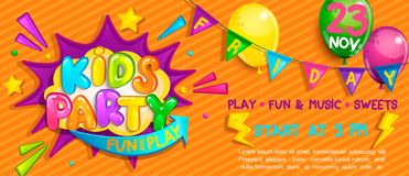Wide Super Banner For Kids Party In Cartoon Style. Royalty Free Stock Image