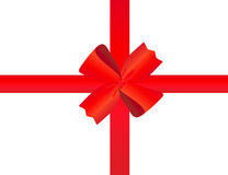 Wide tape and bow. Red tape with a bow packing of a celebratory gift Stock Photography