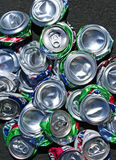 Wide top view of a pile of crushed soda cans Royalty Free Stock Photo