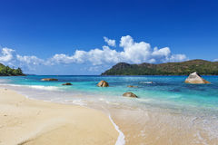 Wide tropical sandy beach Royalty Free Stock Images