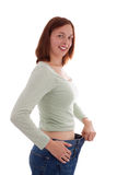 The wide trousers. The trousers of the young woman is too far stock photo