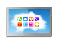 Wide TV screen with white clouds colorful app icons Stock Images