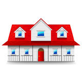 Wide two-storey house isolated on white vector. Wide two-storey house isolated photo-realistic vector illustration royalty free illustration