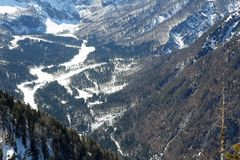 Wide valley between mountains in winter Royalty Free Stock Photography