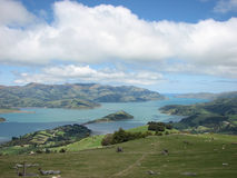 WIDE VALLEY WITH TASMAN SEA, NEW ZEALAND Stock Photo