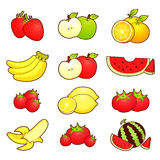 A wide variety of fruits icons sets. Creative Icon Design Series Stock Images