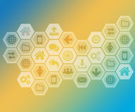 Wide variety of icons on an abstract background. Stock Photography