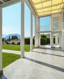 Wide veranda of a modern house Royalty Free Stock Photos