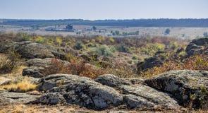 A canyon stones. Wide view of Aktovskiy Canyon, Nikolaev region, Ukraine Royalty Free Stock Image