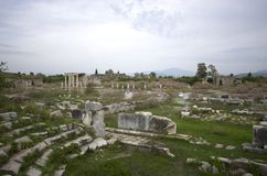 Wide view of Apollon Temple in Miletus ancient city, Turkey royalty free stock photos