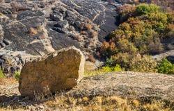 A canyon stones. Wide view of Arbuzinskiy Canyon, Nikolaev region, Ukraine Royalty Free Stock Photos