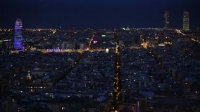 Wide view of Barcelona at dusk.Time Lapse stock video footage
