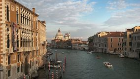 Wide view of basilica St Mary and the Grand Canal, Venice stock video footage