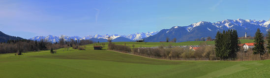 Wide view of bavarian rural landscape and alps Stock Images