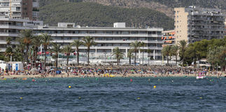 Wide view of the beach of Magaluf in Mallorca Stock Photos
