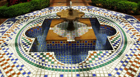Fountain St. Louis A1a. Wide view of beautiful, colorful tiled fountain in the Missouri Botanical Garden Stock Image