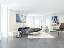 Wide View of Bed in Modern Bedroom in Apartment stock images