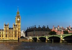 Big Ben and Westminster Bridge. Wide view of Big Ben and the Westminster Bridge in London, England, United Kingdom Royalty Free Stock Photos