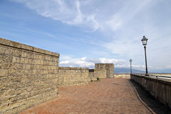 Wide view of the big wall of the castle Castel Sant Elmo in Naples Stock Photography