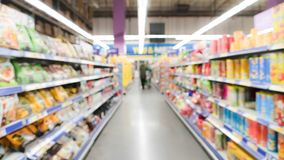Wide view blurred motion of supermarket department store in China Stock Photo