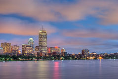 Wide View of the Boston Skyline from the Charles Royalty Free Stock Image