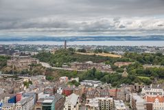 Wide view of Carlton hill in Edinburgh Royalty Free Stock Photography
