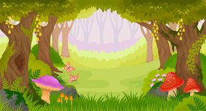 Wide view cartoon fantasy forest. Wide view bright cartoon fantasy forest with butterflies and mushrooms including copy space Royalty Free Stock Images