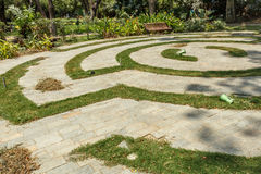 Wide view of circular concrete steps in a green garden, Chennai, India, April 01 2017 Royalty Free Stock Images