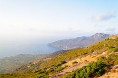 Wide view of a Cretan landscape, island of Crete, Greece Royalty Free Stock Photography